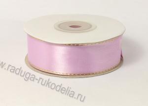 Лента атласная с люрексом, 25 мм. сиреневая
