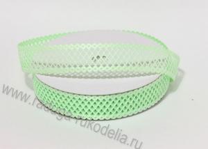 "Лента декоративная ""Сетка"", светло-зеленая 25 мм"