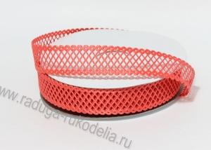 Лента сетка декоративная, коралловая, 22 мм