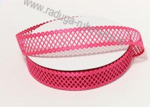 Лента сетка декоративная, ярко-розовый, 22 мм
