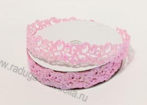 Лента декоративная Завитки, розовый перламутр, 22 мм