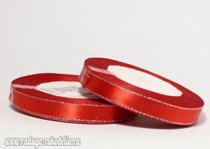 Атласная лента с люрексом серебро 12мм, красная