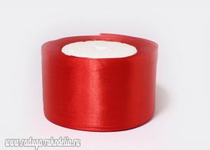Атласная лента 5 см, красная-057