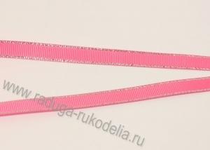 Лента репсовая с люрексом СЕРЕБРО розовый № 156, 9 мм