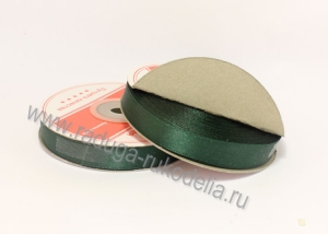 Лента атласная, 12 мм. темно-зеленая В-126