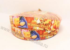 Репсовая лента Винни Пух оранжевая, 25 мм