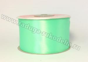 Атласная лента 5 см, светло-зеленая-В114