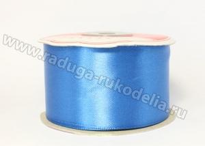 Атласная лента 5 см, синяя-В171