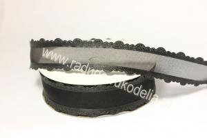 """Лента """"Прозрачная с ажурным краем"""", черная, 25 мм"""