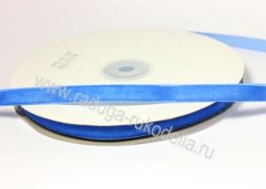 Лента бархатная 1 см, синяя