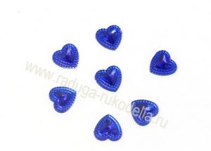 """Кабошон """"Сердечко"""", 12 мм, синее"""