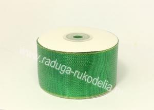 Парча зеленая с люрексом, 50 мм