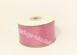 Парча розовая с люрексом, 50 мм