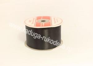Атласная лента 5 см, черная В-176