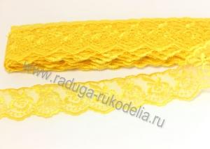 Кружево вышивка на капроне 4 см. Желтое