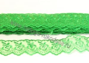 Кружево вышивка на капроне 4 см. Зеленое