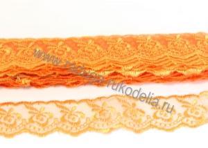 Кружево вышивка на капроне 4 см. Оранжевое