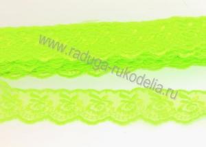Кружево вышивка на капроне 4 см. Светло-зеленое