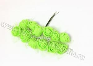 Букетик розочек с фатином (12 шт) зеленые, 2-2,5 см