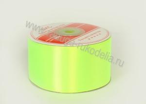 Атласная лента 5 см, ядовито-зеленая В-100