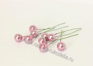 Ягода на проволоке 12 мм, розовый перламутр