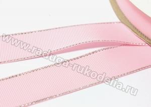 Репс с люрексом СЕРЕБРО, 25 мм. Светло-розовый 123