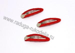 Заколка клик-клак в ткани, металл+ткань, красный