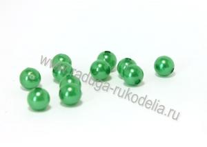 Бусины пластиковые, зеленые, 8 мм (35-40 шт)