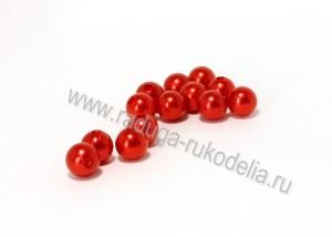 Бусины пластиковые, красные, 8 мм (35-40 шт)