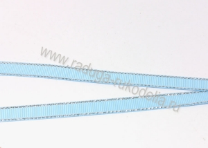 Лента репсовая с люрексом СЕРЕБРО голубой, 9 мм