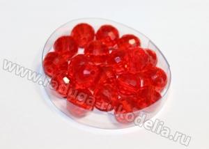 Бусины стеклянные 8 мм. Красные прозрачные
