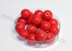 Бусины круглые стеклянные 8 мм. Красные матовые