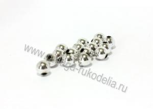 Бусины пластиковые, серебро, 10 мм (18-20 шт)