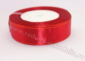 Лента атласная с люрексом, 25 мм. Красная