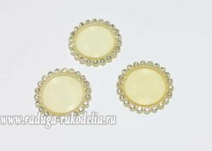 Крышка пластиковая со стразами, внутренний диаметр 25 мм, светло-желтая