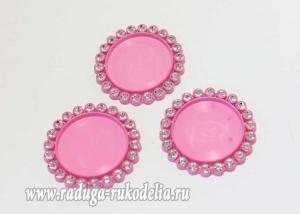 Крышка пластиковая со стразами, внутренний диаметр 25 мм, ярко-розовая
