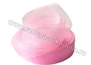 Органза розовая, 25 мм