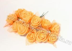 Букетик розочек с фатином (12 шт) оранжевые, 2-2,5 см