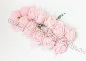Букетик розочек с фатином (12 шт) бледно-розовые, 2-2,5 см