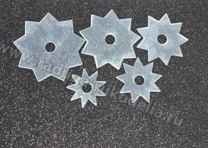 Набор шаблонов-звездочек на 9 лучей. Размеры 5, 6, 7, 8, 9 см, ПЭТ 0,75 мм