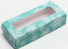 Коробка складная Снежинки, 17 × 7 × 4 см
