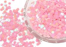 Декор для наполнения ленты, шейкеров. Снежинки 5 мм, Розовые. 25 гр