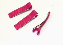 Зажим металл+ткань, 5 см, Темно-розовый