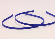 Ободок металл+ткань, синий,6 мм