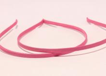 Ободок металл+ткань, ярко-розовый,6 мм