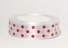Атласная лента Горох крупный красный на белом, 25 мм