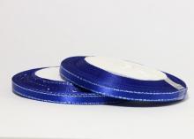 Лента атласная с люрексом серебро, 6 мм, синий, боб. 22 м