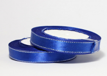 Атласная лента с люрексом серебро 12мм, синяя