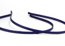 Ободок металл+ткань, темно-синий,6 мм