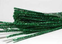 Проволока синельная с люрексом, зеленая 30 см